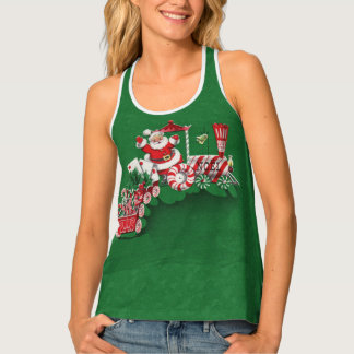 Cute Santa Riding Peppermint Candy Train Letters Tank Top