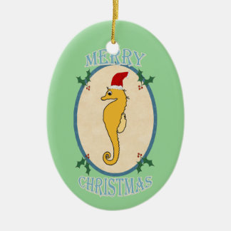 Cute Santa Seahorse Christmas Blue Green Christmas Ornament