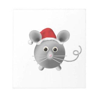 Cute Santa Silver Grey Mouse Christmas Notepad