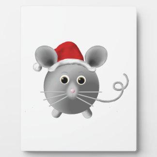 Cute Santa Silver Grey Mouse Christmas Plaque