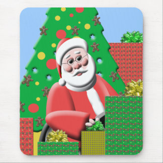 Cute Santa With Presents Christmas Mousepad