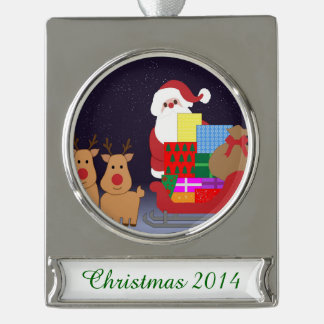 Cute Santa With Reindeer Silver Plated Banner Ornament