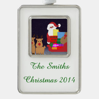 Cute Santa With Reindeer Silver Plated Framed Ornament