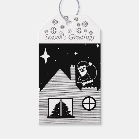 Cute santa with sack on roof black and