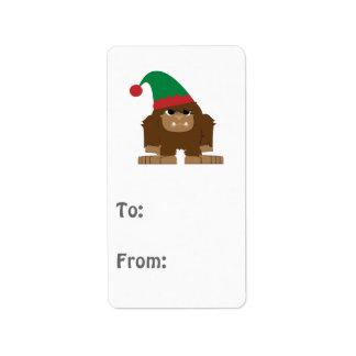 Cute Sasquatch Christmas Elf Address Label