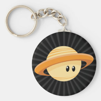 Cute Saturn Planet Basic Round Button Key Ring