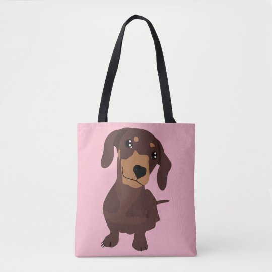 Cute Sausage Dog Dachshund Pink Totes Bag