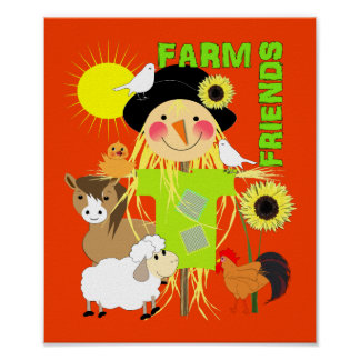 Cute Scarecrow Farm Animal Friends Whimsy Picture Poster