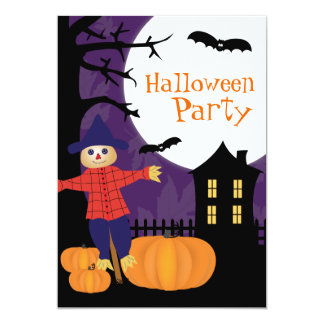 "Cute Scarecrow Halloween Party Invitation 5"" X 7"" Invitation Card"