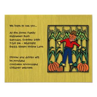 Cute Scarecrow in a Corn Field Halloween Party 11 Cm X 14 Cm Invitation Card