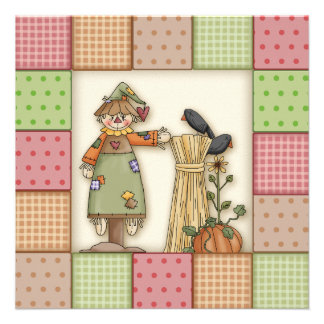 Cute Scarecrow Patchwork Thanksgiving Invitation
