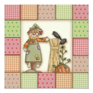 Cute Scarecrow & Patchwork Thanksgiving Invitation