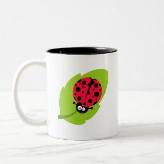 Cute Scarlet Red Ladybug Two-Tone Coffee Mug