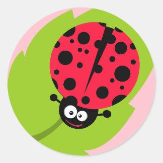Cute Scarlet Red Ladybug Round Sticker