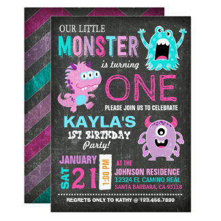 Cute Scary Little Monsters Birthday 13 Cm X 18 Cm Invitation Card