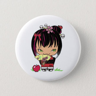 Cute Scary Miao - gothic kokeshi doll 6 Cm Round Badge
