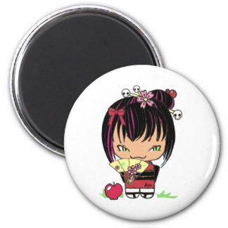 Cute Scary Miao - gothic kokeshi doll 6 Cm Round Magnet