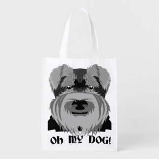 Cute Schnauzer Oh My Dog Reusable Grocery Bag