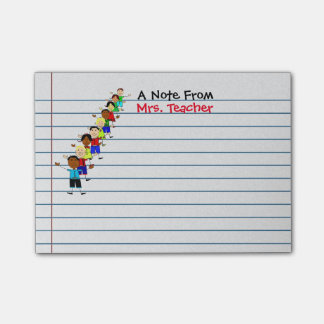 Cute School Kids Teacher Personalized Post-its Post-it Notes