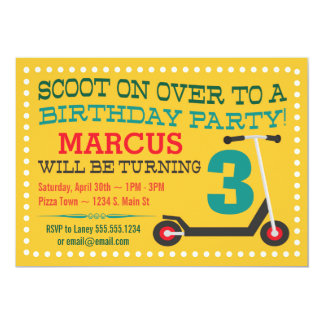 Cute Scooter Boys Birthday Invitations