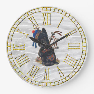 Cute Scottie Playing Bagpipes Large Clock