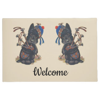 Cute Scotties Playing Bagpipes Personalize Doormat