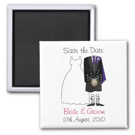 Cute Scottish Bride & Groom Save The Date