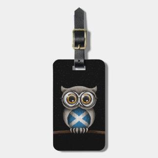 Cute Scottish Flag Owl Wearing Glasses Bag Tag