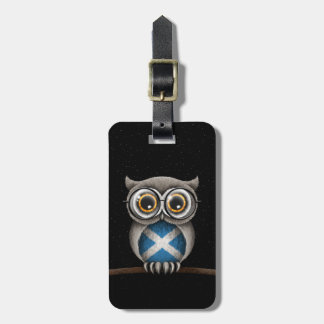 Cute Scottish Flag Owl Wearing Glasses Luggage Tag