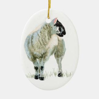 Cute Scottish Lamb Ceramic Oval Decoration