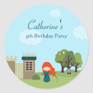 Cute scottish princess girls birthday party round stickers