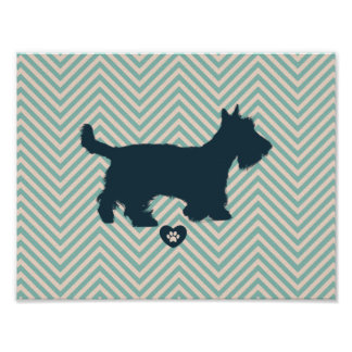 Cute Scottish terrier silhouette Customise Product Poster