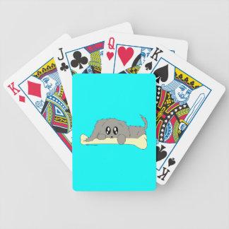 Cute Scruffy Little Puppy Dog with Bone Card Deck