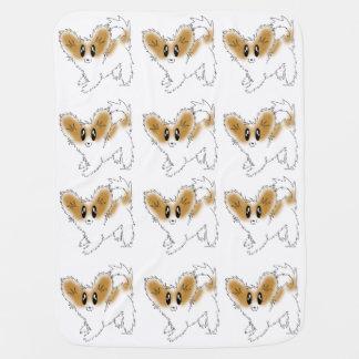 Cute Scruffy Papillon Puppy Dog Baby Blanket