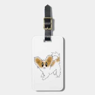 Cute Scruffy Papillon Puppy Dog Bag Tag