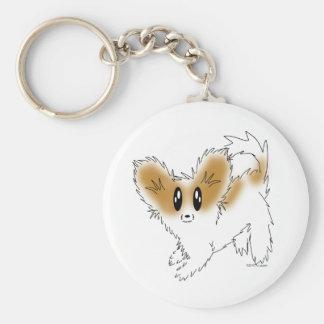 Cute Scruffy Papillon Puppy Dog Basic Round Button Key Ring