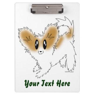 Cute Scruffy Papillon Puppy Dog Clipboard