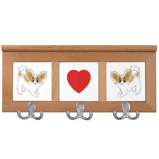Cute Scruffy Papillon Puppy Dog Coat Rack