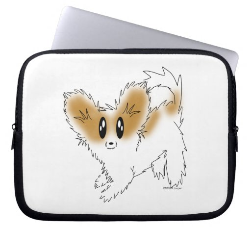 Cute Scruffy Papillon Puppy Dog Laptop Sleeves