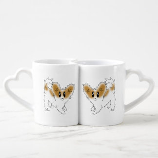 Cute Scruffy Papillon Puppy Dog Lovers' Mug Couples' Coffee Mug Set