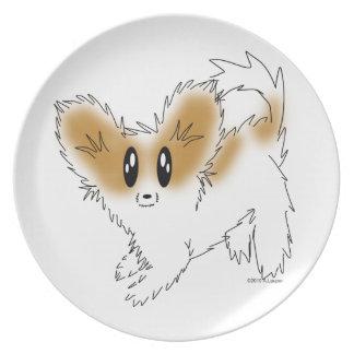 Cute Scruffy Papillon Puppy Dog Plate