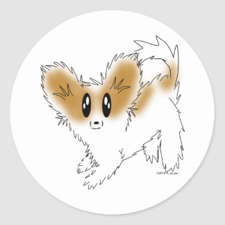 Cute Scruffy Papillon Puppy Dog Round Sticker