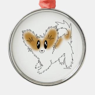 Cute Scruffy Papillon Puppy Dog Silver-Colored Round Decoration
