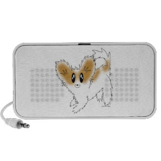 Cute Scruffy Papillon Puppy Dog Laptop Speakers