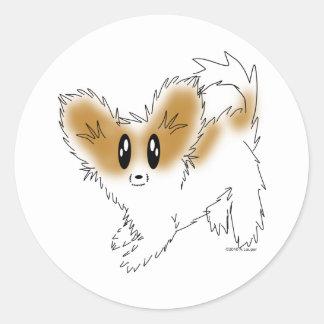 Cute Scruffy Papillon Puppy Dog Round Stickers