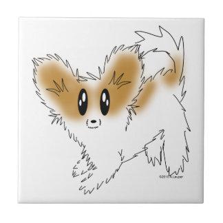 Cute Scruffy Papillon Puppy Dog Ceramic Tile