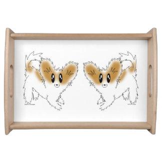 Cute Scruffy Papillon Puppy Dog Food Trays