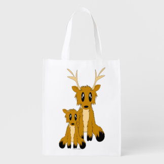 Cute Scruffy Parent and Baby Reindeer Reusable Bag