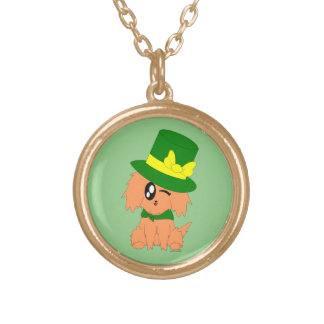 Cute Scruffy St. Patrick's Day Leprechaun Puppy Gold Plated Necklace