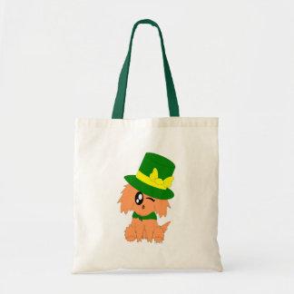Cute Scruffy St. Patrick's Day Leprechaun Puppy Tote Bag